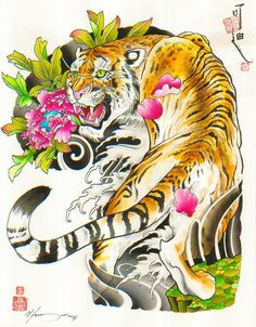 The Aggressor by Cody Meyer Chinese Tiger Tattoo Canvas Fine Art Print
