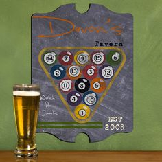 Shop for personalized vintage billiards tavern pub sign. This is the perfect decor piece to hang in your man cave, home bar, den, garage or basement. Man Cave Pub, Man Cave Home Bar, Personalized Football, Personalized Signs, Pub Signs, Wall Signs, Sports Man Cave, Billiards Pool, Man Cave Signs
