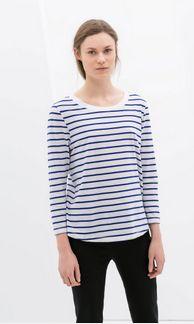 Zara Striped Organic Cotton in Blue/White
