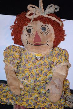 Old Ragged Ann Doll Cloth Rag Doll Adorable Button Eyes