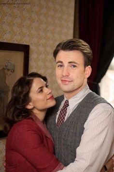 Chris evans and hayley atwell. 218 hearts collect share · peggy carter, captain america, and steve rogers image Marvel Dc, Marvel Comics, Marvel Heroes, Steve Rogers, Capitan America Chris Evans, Chris Evans Captain America, Agent Carter Captain America, Iron Man, And Peggy