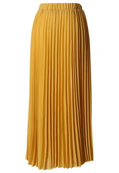Chiffon Mustard Pleated Maxi Skirt