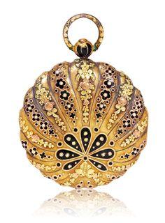 GOLDEMAIL TASCHENUHR , ca. 1780.Gold.Reich verziertes Gehäuse mit Rotgold, Gelbgold und Grüngold,