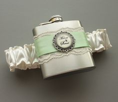Bridesmaid`s Gifts......Personalized Satin & Lace FLASK GARTER -- Ivory and Mint Green Bridal Garter.