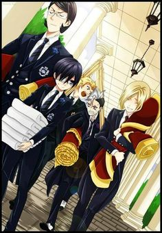 Blck butler ciel and the prefect of blue red green and violet house