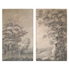 Pair of Grisaille Panels of Trees on a River Measurements are for each individual panel