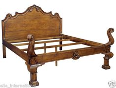 French Provincial Solid Walnut King Size Bed Frame Hand Carved New Free Shipping | eBay