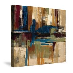 This abstract design by Silvia Vassileva is bursting with color. The use of burgundy, brown and shades of blue will work well with any contemporary decor.