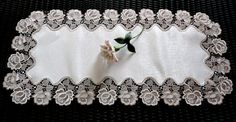 70 Rose Dresser Scarf Doily Table Runner Nuetral by Doilies2Go