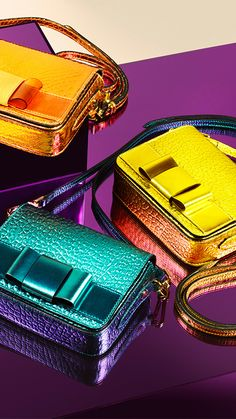 Burberry Bow detail crossbody bags in bold runway metallics