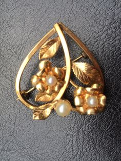 Vintage Signed C.R. CO  Heart Shaped Brooch with Harvested Pearl / Vintage Brooch / Vintage Jewelry by VintageVixens1 on Etsy