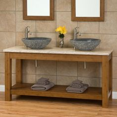 "Vanity Color 60"" Kirin Bamboo Double Vessel Sink Console Vanity with Travertine Top"