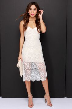 beige and ivory lace midi dress