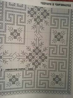 Blackwork Patterns, Embroidery Patterns, Stitch Patterns, Cross Stitch Letters, Cross Stitch Rose, Crochet Table Runner, Crochet Tablecloth, Cross Stitching, Cross Stitch Embroidery