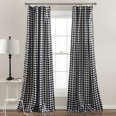 Lush Decor Houndstooth Window Curtain Panel Pair