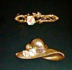 1222~Vintage Pair Of 1928 Gold Tone Pink Porcelain Flower Figural Brooch Pins** #1928