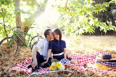 Picnic Vintage Bicycle Engagement Photos by Adrienne Gunde Los Angeles California