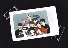 First photo as wanna one Exo Anime, Exo Fan Art, Mood Wallpaper, Tumblr Stickers, Kpop Fanart, Doodle Art, Chanyeol, Cute Art, Pixel Art