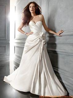 Robe avec traîne 2013 glamour ivoire drapé fleurs robe de mariée satin