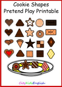 www.citykidsenglish.com  Are you looking for a fun way to teach shapes? With Shape Cookies you can. Your students will be able to tell you what shapes the cookies are and what colour the plates are. As well as this they will have fun choosing the right cookie shapes when playing the game.  Cookie Shapes comes with:  7 Colours of plates ( blue, brown, green, pink, purple, red and yellow) 28 different cookies 7 different shapes ( circle, square, star, heart, triangle, diamond and rectangle)