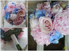 Bouquet para novia con hortensias y peonias en tonos rosas , lilas y azules. Mayula Flores