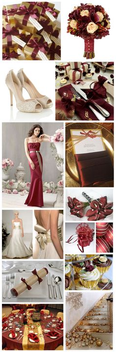 burgundy and gold wedding...... love this. thinking of adding chocolate to the mix though.