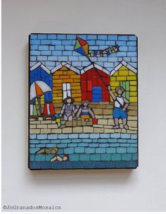 A Summer Day by the Beach Mosaic Wall Art (8x10 inches). Made with vitreous glass tiles on a wood panel #JoGranadosMosaics #JohannaGranadosMosaics #MosaicWallArt #SummerDay #Summertime #BeachHuts