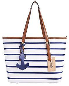 Coofit Stripes Handbag Womens PU Leather Purse with Sea Anchor Pendant Blue White  - http 60e6aa64a3
