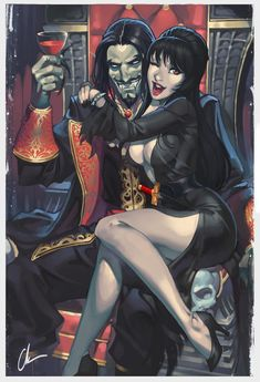 Drac X Elvira by ChuckARTT on DeviantArt Dino Crisis, Best Crossover, Sci Fi Horror, Goth Art, Dc Comics Art, Happy B Day, Photo Reference, Life Drawing, Best Artist