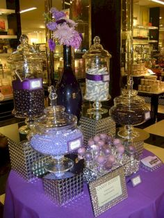 Purple candy buffet - Purple and Silver Candy Buffet – Purple candy buffet Purple Candy Buffet, Candy Buffet Tables, Dessert Tables, Dessert Buffet, Bling Candy Buffet, Buffet Ideas, Party Decoration, Wedding Decorations, Table Decorations