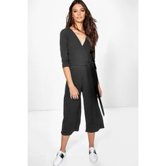 Boohoo Hannah Roll Sleeve Relaxed Culotte Jumpsuit (1,475 INR) ❤ liked on Polyvore featuring jumpsuits, jump suit, boohoo jumpsuits, white jump suit, sleeved jumpsuit and white jumpsuit