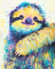 Sloth Art on Paper or Canvas - Print of Sloth Painting. Cute Sloth Gift for Her or Him! Animal Art Prints, Animal Paintings, Canvas Art Prints, Fine Art Prints, Sloth Tattoo, Cardboard Painting, Paint Your Pet, Cute Sloth, My Spirit Animal