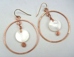 Copper and coin bead hoop earrings