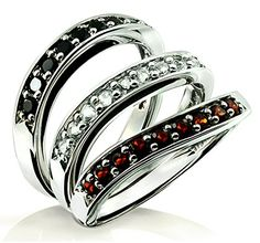 1.04 Carats Black Onyx, White Beryl, and Garnet Set of 3 Stack Rings in Sterling Silver with Rhodium Plated (7) � Jewelry from Selena