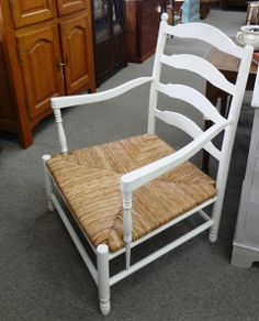 12101 Ladderback Rush Seat Open Arm Bergere Chairs