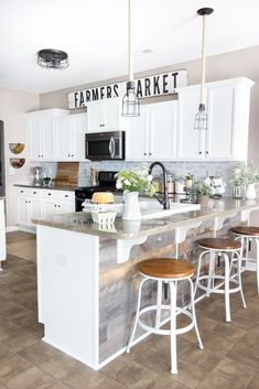 Remodelaholic | How To Restore An Old Leather Chair Decorating Above Kitchen Cabinets, Farmhouse Kitchen Cabinets, Farmhouse Style Kitchen, Modern Farmhouse Kitchens, Rustic Farmhouse, Farmhouse Design, Kitchen Island, Farmhouse Interior, Kitchen Interior