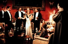 Kristin Scott Thomas stands out from the crowd in this cocktail dress in Gosford Park.
