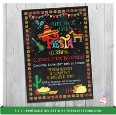 """Fiesta Invitation: Custom Printable Boy or Girl Birthday Party Invitations 