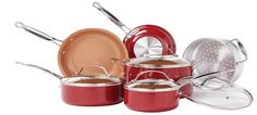 Buy this Red Copper 10pc Ceramic Cookware Set by Bulbhead with deep discounted price online today.
