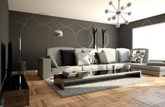 Black and white contemporary decorating ideas for living room