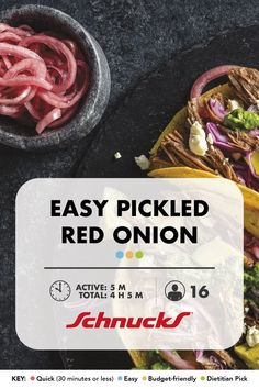 Add tangy, sweet red onions to salads, bowls, tacos and more! 30 Minutes Or Less, Dietitian, Vegan Vegetarian, New Recipes, Cooking Tips, Side Dishes, Salads, Tacos, Salad