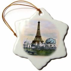 3dRose Lovely Old Paris Scene With Eiffel Tower and Riverboats, Snowflake Ornament, Porcelain, 3-inch