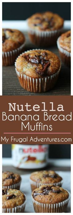 Swirl Banana Muffins - My Frugal Adventures Nutella Banana Bread Muffins- absolutely delicious and a perfect homemade gift!Nutella Banana Bread Muffins- absolutely delicious and a perfect homemade gift! Nutella Snacks, Nutella Recipes, Banana Bread Recipes, Muffin Recipes, Nutella Cookies, Pudding Recipes, Nutella Banana Bread, Banana Bread Bars, Banana Bread Muffins