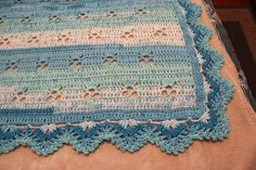 Gorgeous crocheted baby blanket Multiple shades of blue