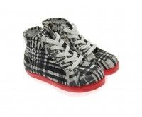 D Junior Boys Black & Grey Check High Top Trainers With Red Soles