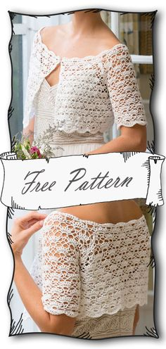 A beautiful neckline, delicate shell and v-stitches, plus scallop edgings combine to complete the perfect crochet bridal topper. Crochet Crafts, Easy Crochet, Knit Crochet, Crochet Shrugs, Crochet Sweaters, Crochet Bolero Pattern, Crochet Wedding, Crochet Woman, Crochet Videos