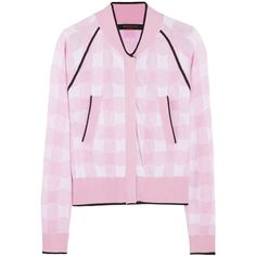 Sibling Gingham knitted bomber jacket ($245) ❤ liked on Polyvore featuring outerwear, jackets, coats, tops, baby pink, pink bomber jacket, pink jacket, sister by sibling, bomber jacket and flight jacket