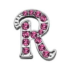 3/8 Pink Script Letter Sliding Charms R .