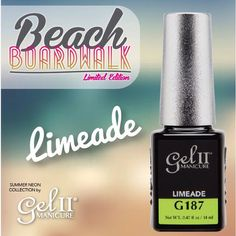 Put the Limeade in the coconut, or in this case on your nails!  Beach Boardwalk is available this week, July 1st! Who's ready to take a stroll with 4 new Summer Neons from Gel II? #gel2 #geltwo #BeachBoardwalk #SummerNails #NeonNails @nailsmagazine @nailpromagazine @scratchmagazine