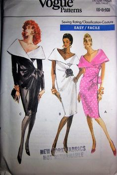 Vogue 7400 Women's 80s Mock Wrap Dress Sewing Pattern Size 6 to 10 Bust 30 to 32